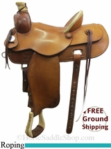 "15"" Used Ralph Shimon Roping Saddle, Wide Tree usrh3056 *Free Shipping*"
