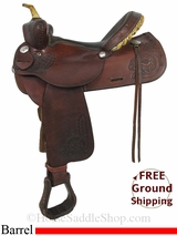 "PRICE REDUCED! 15"" Used Rocking R Barrel Racing Saddle usrr2884 *Free Shipping*"