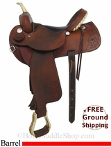"SOLD 2015/01/21 15"" Used Rocking R Barrel Racing Saddle, Wide Tree usrr2948 *Free Shipping*"