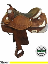 """SOLD 2016/08/30  15"""" Used Rocking R Wide Show Saddle usrr3530 *Free Shipping*"""