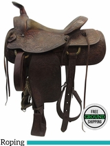 "15"" Used Shoup Medium Roping Saddle 7652 ussh3431 *Free Shipping*"