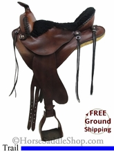 """SOLD 2014/07/12 $1050 PRICE REDUCED! 15"""" Used Synergist Saddles Trail Saddle usse2678 *Free Shipping*"""