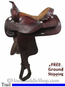 "SOLD 2014/09/25 $650.98 PRICE REDUCED! 15"" Used Tex Tan Hereford Trail Saddle ustt2727 *Free Shipping*"