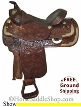 "SOLD 2014/10/10 $663.57 PRICE REDUCED! 15"" Used Tex Tan Hereford Show Saddle ustt2578 *Free Shipping*"
