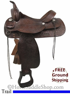 "PRICE REDUCED! 15"" Used Tex Tan Hereford Trail Saddle ustt2729 *Free Shipping*"