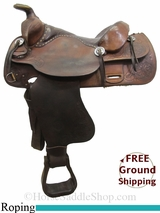 "PRICE REDUCED! 15"" Used Tex Tan Roping Saddle ustt3054 *Free Shipping*"