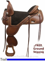 "16.5"" Circle Y Cloud Peak 1300 Treeless Trail Saddle, Floor Model uscy3034 *Free Shipping*"