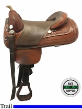 "SOLD 2017/01/03  16.5"" Used Bob Marshall Wide Treeless Trail Saddle usbm3611 *Free Shipping*"