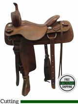 "SOLD 2016/06/17 16.5"" Used Calvin Allen Wide Cutting Saddle 1273802FQRTM, usca3429 *Free Shipping*"