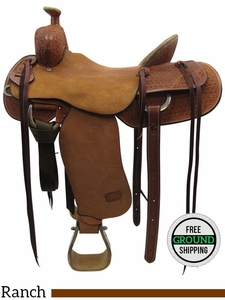 "SOLD 2017/03/23  16.5"" Used Teskey's Custom Medium Ranch Saddle usts3438 *Free Shipping*"