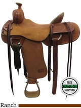 "16.5"" Used Teskey's Custom Medium Ranch Saddle usts3438 *Free Shipping*"