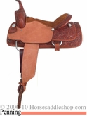 "16"" Alamo Caramel Toast Tooled Penning Cutting Saddle al1525"