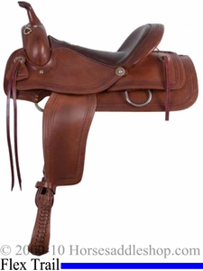 "16"" Alamo Flex Tree Chocolate Roper Border Tooled Trail Saddle 1065"