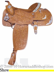 "16"" Alamo Oakleaf-Tooled California Equitation Show Saddle 1002"