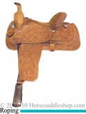 "16"" Alamo Oakleaf Tooled Roping Saddle 1004"