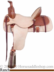 "16"" Alamo Roughout Basket Tooled Ranch Roping Saddle 1014"