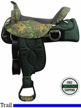 "PRICE REDUCED! 16"" American Saddlery Mossy Oak Cordura Flex Trail Saddle, Wide Tree, Floor Model usam3159 *Free Shipping*"