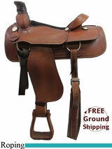 """SOLD 2015/07/31 16"""" American Saddlery Barb Wire Brazos 196 Roping Saddle, Floor Model usam3173 *Free Shipping*"""