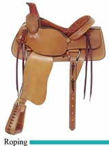 "16"" American Saddlery Basket Weave All Around Roping Saddle am754"