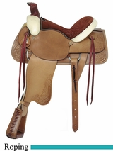 "16"" American Saddlery Rawhide All Around Roping Saddle am755"