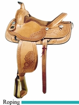 "16"" Big Horn Floral Tooled Roping Saddle 880"