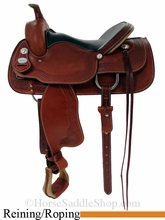 """16"""" Chestnut Basket Stamped Cowhorse Working Saddle by Crates 4533"""