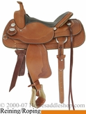 "16"" Chestnut Basket Stamped Cowhorse Working Saddle by Crates 4533"