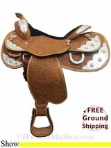"PRICE REDUCED! 16"" Circle Y Silver Star 1931 Show Saddle, Wide Tree, Floor Model uscy3020 *Free Shipping*"