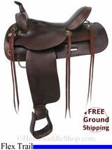 "SOLD 2014/10/09 $980 16"" Used Big Horn Flex Trail Saddle, Wide Tree usbh2887 *Free Shipping*"