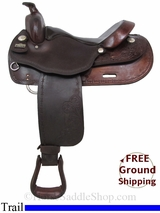 "SOLD 2015/01/19 16"" Used Big Horn Haflinger Trail Saddle, Extra Wide Tree usbh2987 *Free Shipping*"
