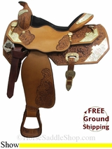 "PRICE REDUCED! 16"" Used Big Horn Show Saddle, Wide Tree usbh3057 *Free Shipping*"
