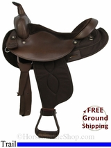 """SOLD 2014/08/29 $575 16"""" Used Big Horn Trail Saddle, Wide Tree usbh2868 *Free Shipping*"""