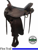 "SOLD 2016/04/11 16"" Used Big Horn Wide Flex Tree Trail Saddle usbh3373 *Free Shipping*"