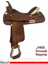 "PRICE REDUCED! 16"" Used Billy Cook Barrel Saddle, Wide Tree usbi2885 *Free Shipping*"