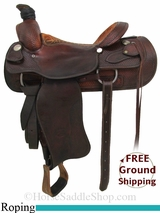 "SOLD 2014/09/05 $1075 16"" Used Billy Cook Team Roping Saddle, Wide Tree usbi2865 *Free Shipping*"