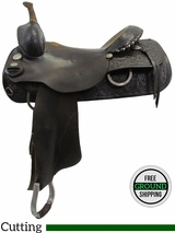 """SOLD 2016/08/07  PRICE REDUCED! 16"""" Used Circle Y Cutting Saddle, Wide Tree uscy3142 *Free Shipping*"""