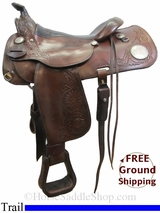 "PRICE REDUCED! 16"" Used Circle Y Trail Saddle, Wide Tree uscy3076 *Free Shipping*"