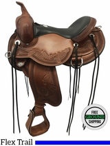 "SOLD 2017/01/02  PRICE REDUCED! 16"" Circle Y Wind River Wide Flex Trail Saddle 1750 uscy3596 *Free Shipping*"