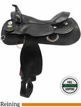 "16"" Used Continental Saddlery Black Beauty Medium Flex Reining Saddle 164 usct3502 *Free Shipping*"