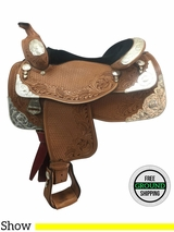"""16"""" Used Dale Chavez Wide Show Saddle usdc3727 *Free Shipping*"""