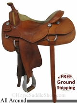 "SOLD 2014/09/05 $2999 16"" Used Don Gonzales All Around Saddle, Wide Tree uscu2861 *Free Shipping*"