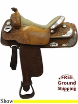 "PRICE REDUCED! 16"" Used Double J Show Saddle usdj3216 *Free Shipping*"