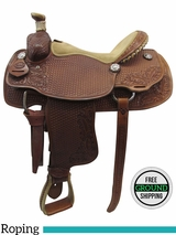 "16"" Used Teskey's Custom Medium Roper Saddle usts3387 *Free Shipping*"