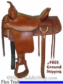 "16"" Used Tex Tan Hereford Flex Trail Saddle ustt2666 *Free Shipping*"