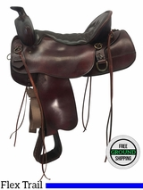"SOLD 2016/12/06  17.5"" Used Tucker Big Bend Wide Flex Trail Saddle 293 ustk3649 *Free Shipping*"