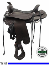 "SOLD 2016/06/25  17.5"" Used Tucker Horizon North Star Wide Trail Saddle 263 ustk3488 *Free Shipping*"