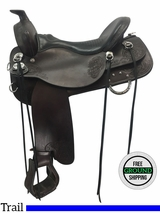 """SOLD 2017/03/20  17.5"""" Used Tucker Horizon North Star Wide Trail Saddle 263 ustk3694 *Free Shipping*"""