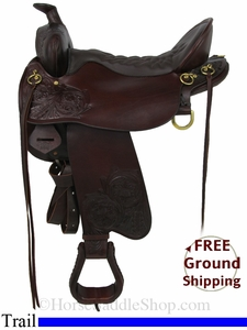 "SOLD 2014/09/29 $1350 17.5"" Used Tucker Trail Saddle, Wide Tree ustk2858 *Free Shipping*"