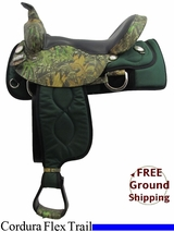 "PRICE REDUCED! 17"" Big Horn 300 Cordura Flex Trail Saddle, Wide Tree, Floor Model usbh3165 *Free Shipping*"
