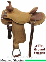 "PRICE REDUCED! 17"" Circle Y Dan Byrd Super Shooter 2721 Mounted Shooting Saddle, Wide Tree, Floor Model uscy3032 *Free Shipping*"